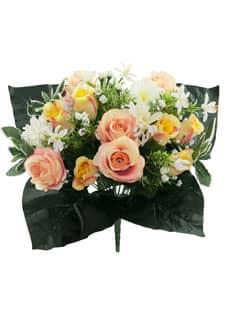 Kunstblumenstrauß Rosen und Gerbera apricot 40 cm