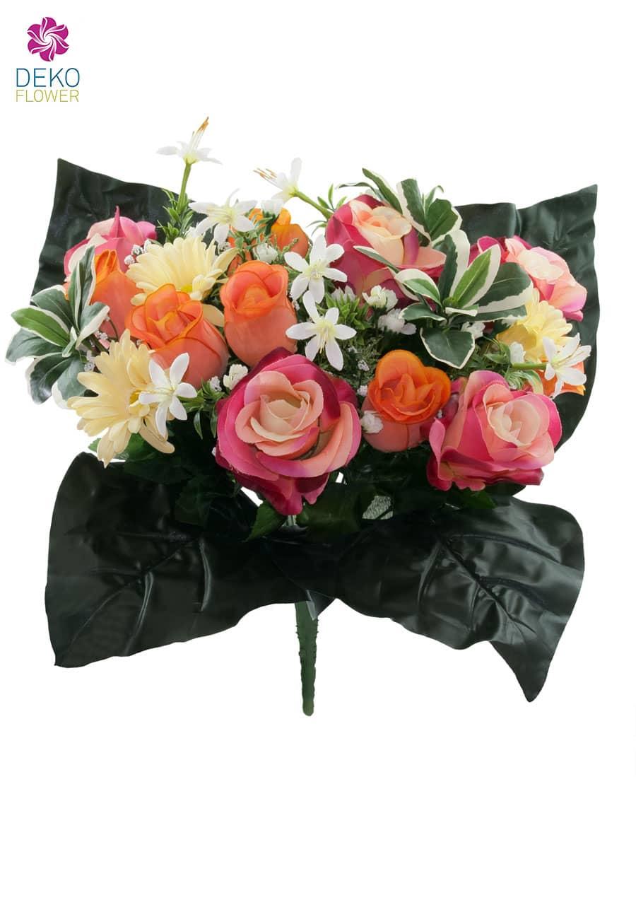 k nstlicher blumenstrau mit rosen und gerbera pink orange 40cm. Black Bedroom Furniture Sets. Home Design Ideas