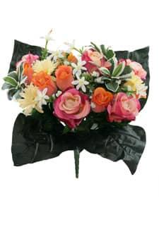 Künstlicher Blumenstrauß mit Rosen und Gerbera pink-orange 40cm