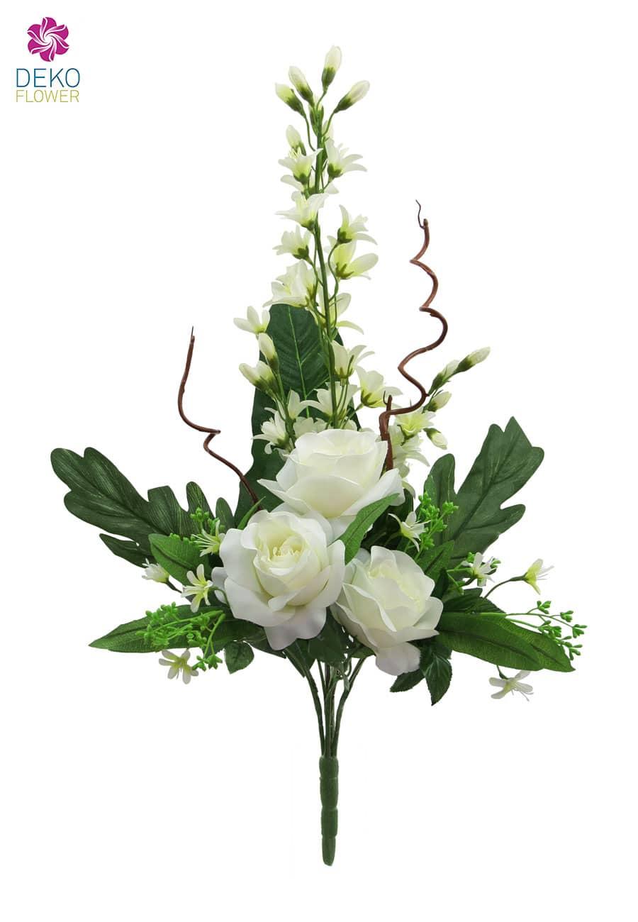 Rosen und Orchideen Kunstblumen Bouquet weiß 70 cm
