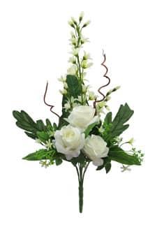 Künstlicher Blumenstrauß mit Rosen und Orchideen creme 70cm