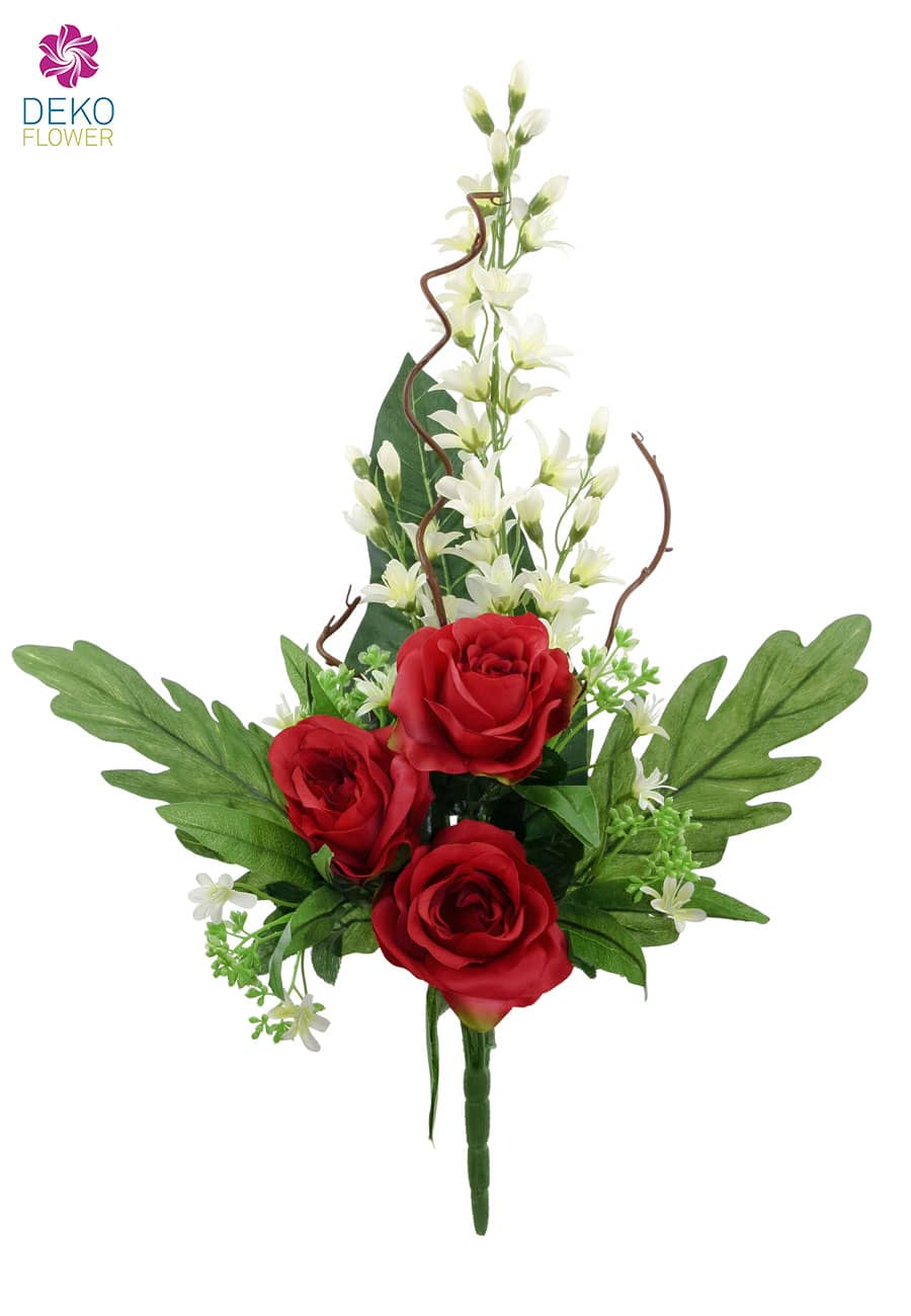 k nstlicher blumenstrau mit rosen und orchideen creme rot 70cm. Black Bedroom Furniture Sets. Home Design Ideas