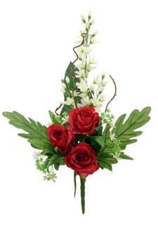 Künstlicher Blumenstrauß mit Rosen und Orchideen creme-rot 70cm