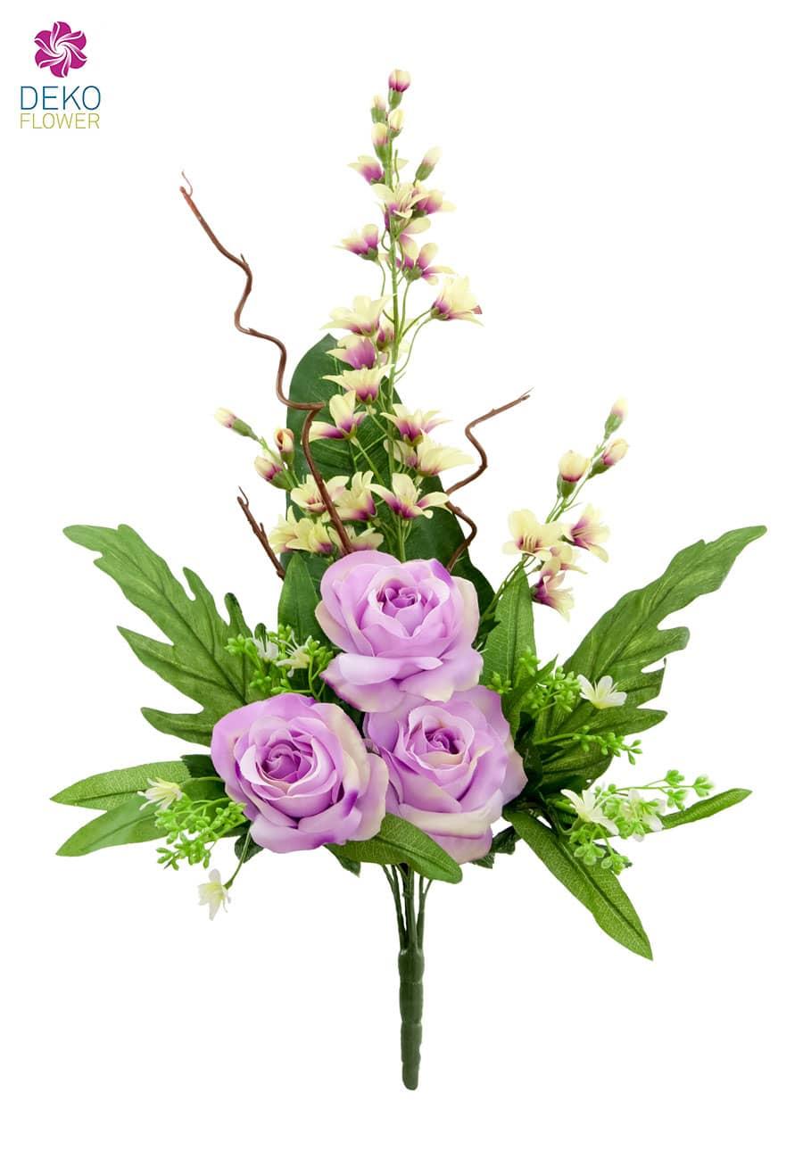 Rosen und Orchideen Kunstblumenstrauß lila 70 cm