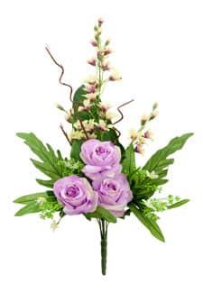 Künstlicher Blumenstrauß mit Rosen und Orchideen lavendel 70cm