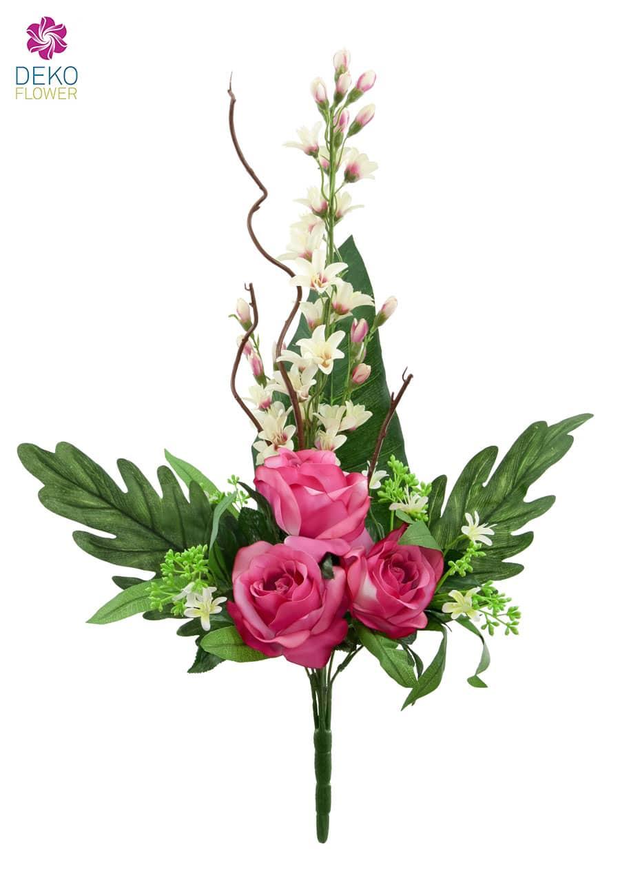 Rosen und Orchideen Kunstblumenstrauß pink 70 cm
