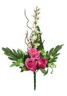 Künstlicher Blumenstrauß mit Rosen und Orchideen pink 70cm