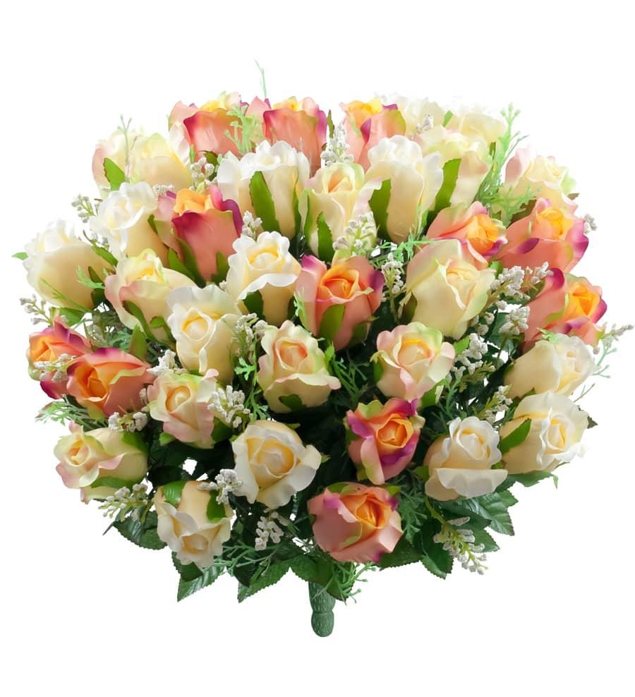 Kunstblumenstrauß aus Rosen in zartem apricot und rosa 47 cm