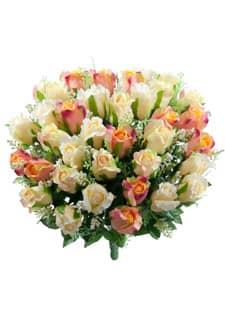 Kunstblumenstrauß mit Rosen in zartem apricot und rosa 47 cm