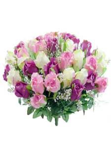 Kunstblumenstrauß aus Rosenknospen pink und rosa 47 cm