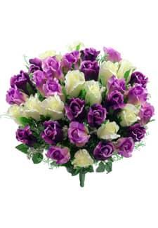 Kunstblumenstrauß mit Rosenknospen violett lavendel 47 cm