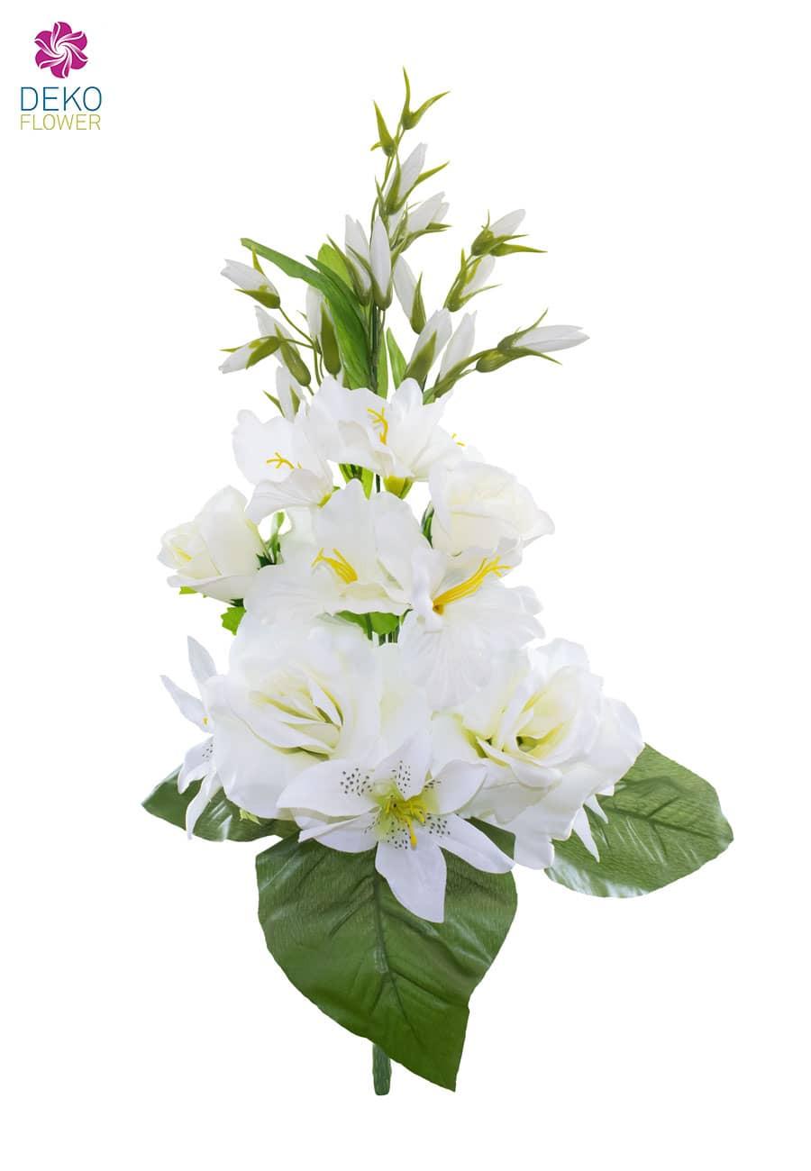 Kunstblumenstrauß weiß 55 cm