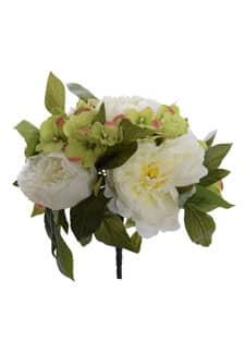 Kunstblumenstrauß weiß grün 29 cm