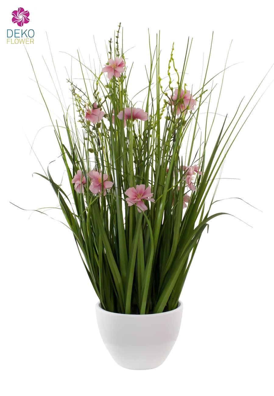 Kunstgras 75 cm in Schale rosa Blüten