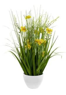 Kunstgras mit gelben Blüten in Schale 57 cm