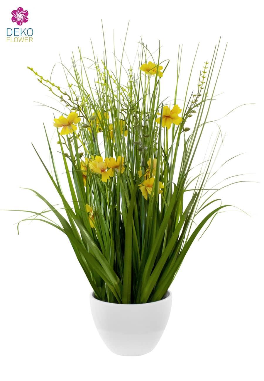 Kunstgras gelbe Blüten in Schale 75 cm