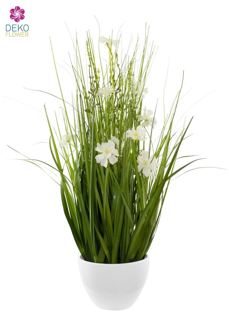 Kunstgras in Schale 75 cm weiße Blüten