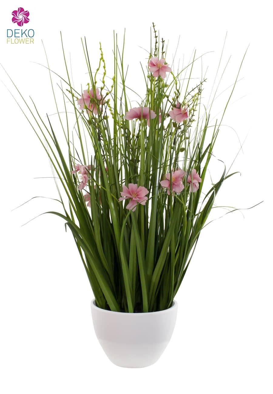 Kunstgras in Schale mit rosa Blüten 57 cm