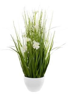 Kunstgras Deko mit weißen Blüten 57 cm