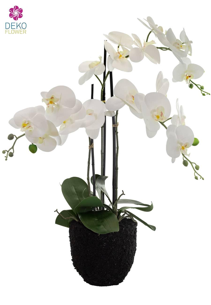 Kunstorchidee weiß 74 cm in Erdballen