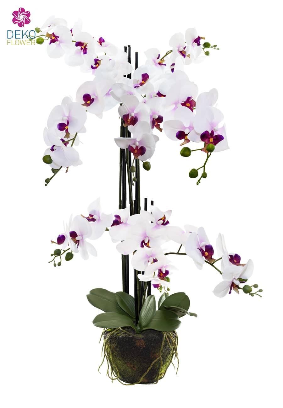 Kunstorchidee 92 cm weiß violett mit Erdballen