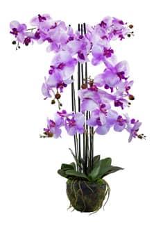 Kunstorchidee lavendel 92 cm mit Erdballen