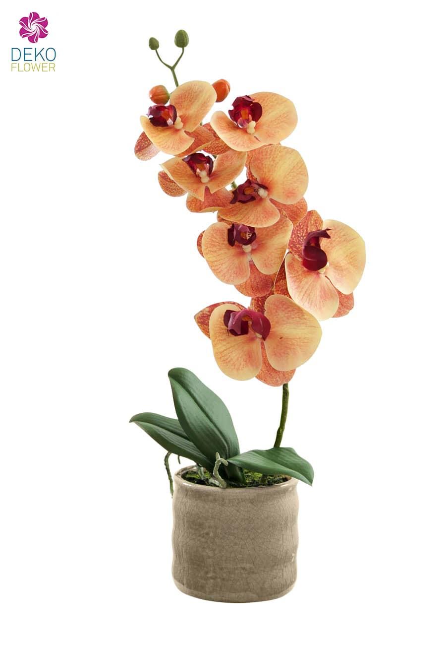 Kunstorchidee orange rot 43 cm im Keramiktopf