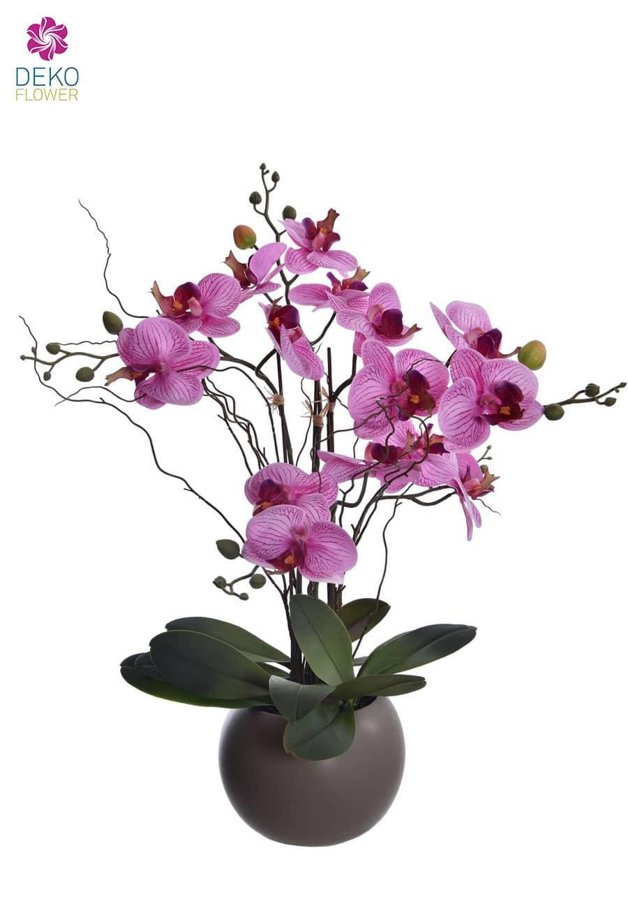 Kunstorchidee pink 57 cm getopft