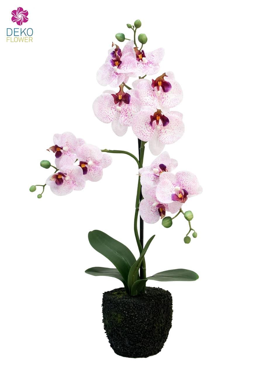 Kunst Orchidee weiß rosa 57 cm