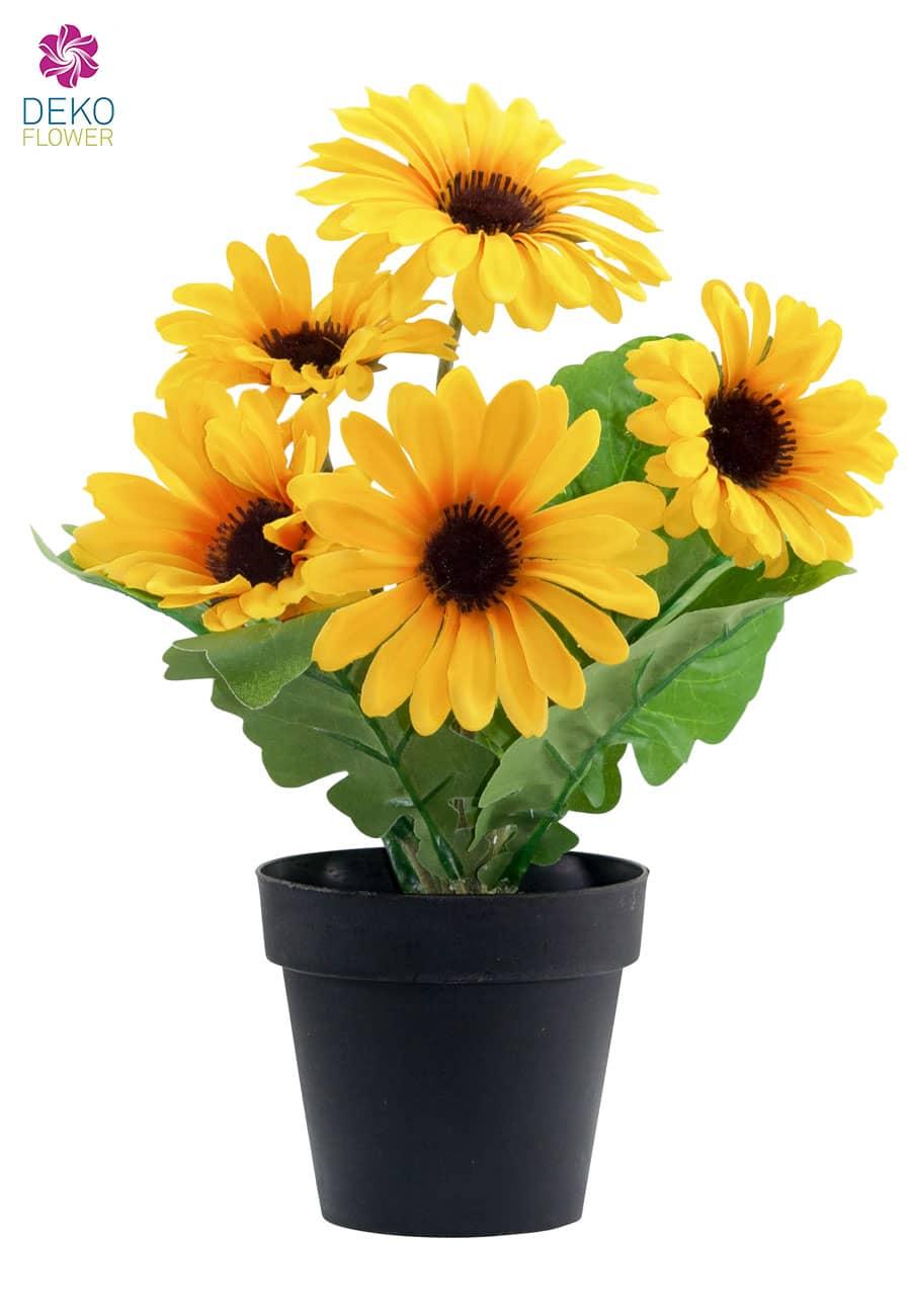 Künstliche Gerbera Topfpflanze gelb 28 cm