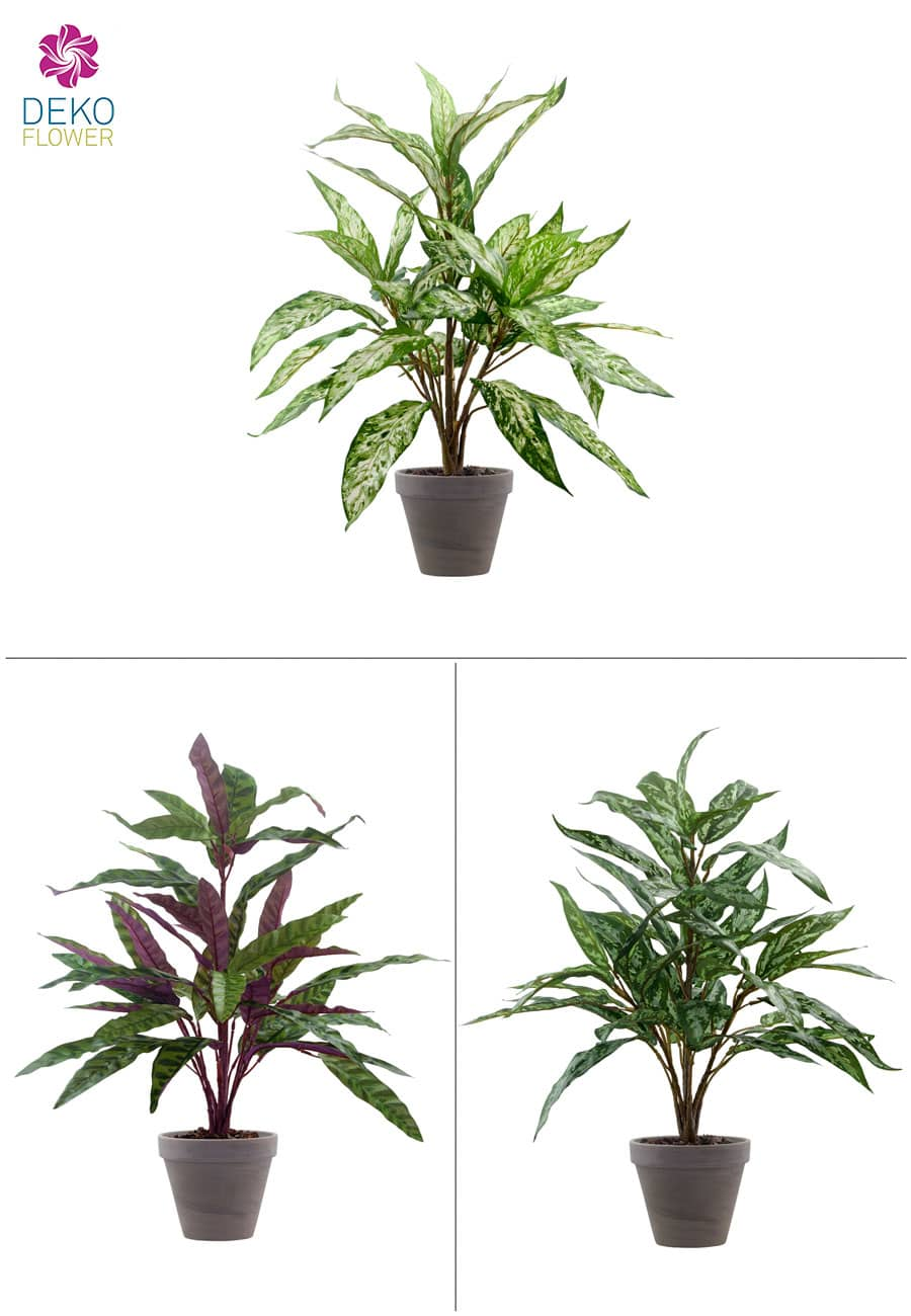 Kunstpflanzen 3er-Set 60 cm