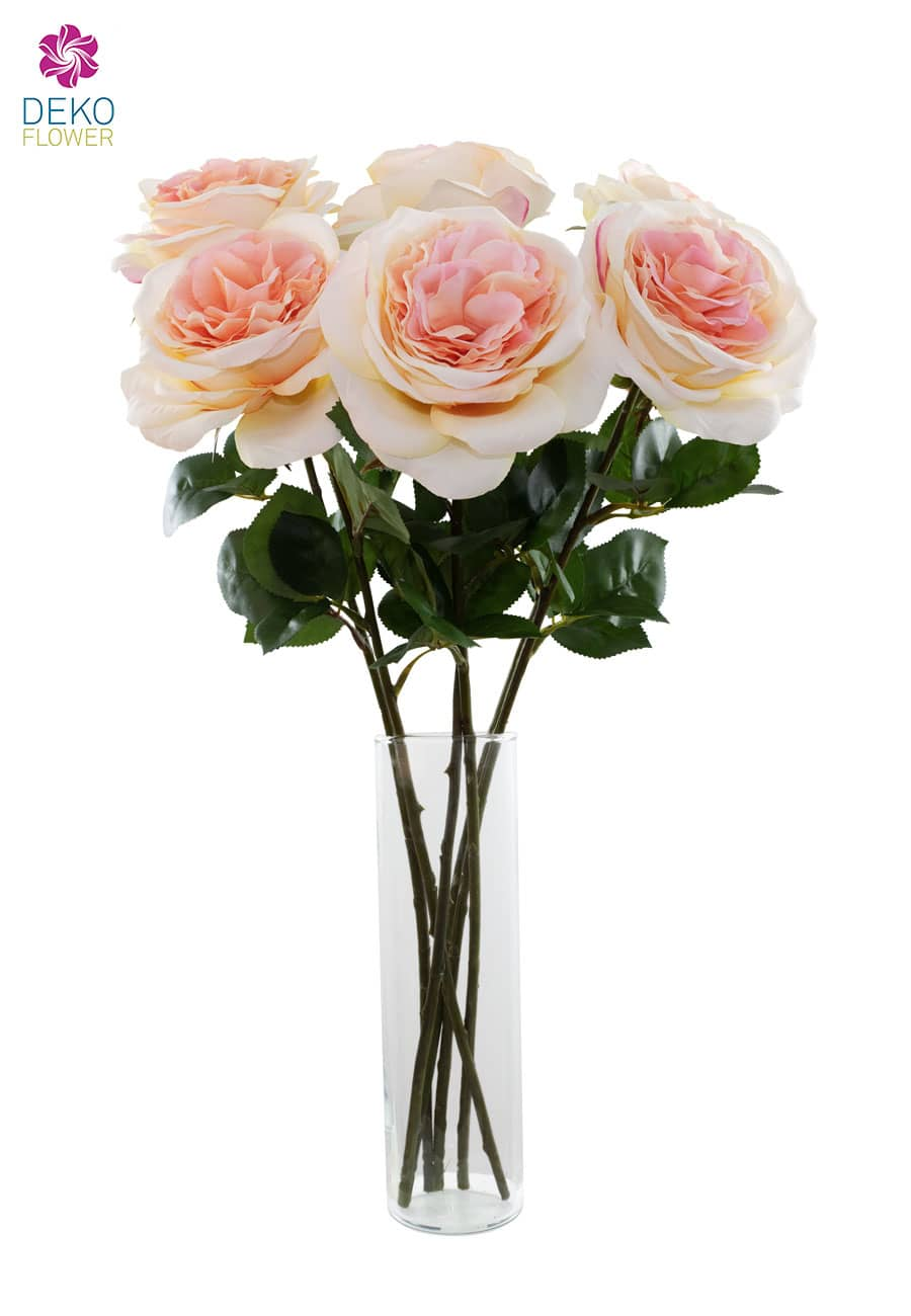 Kunstrosen 6 Stück á 55 cm lachs/ rosa