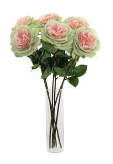 Kunstrosen 6er Pack grün/ rosa 55 cm