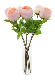 Kunstrosen halboffen 6 Stück á 55 cm lachs/ rosa