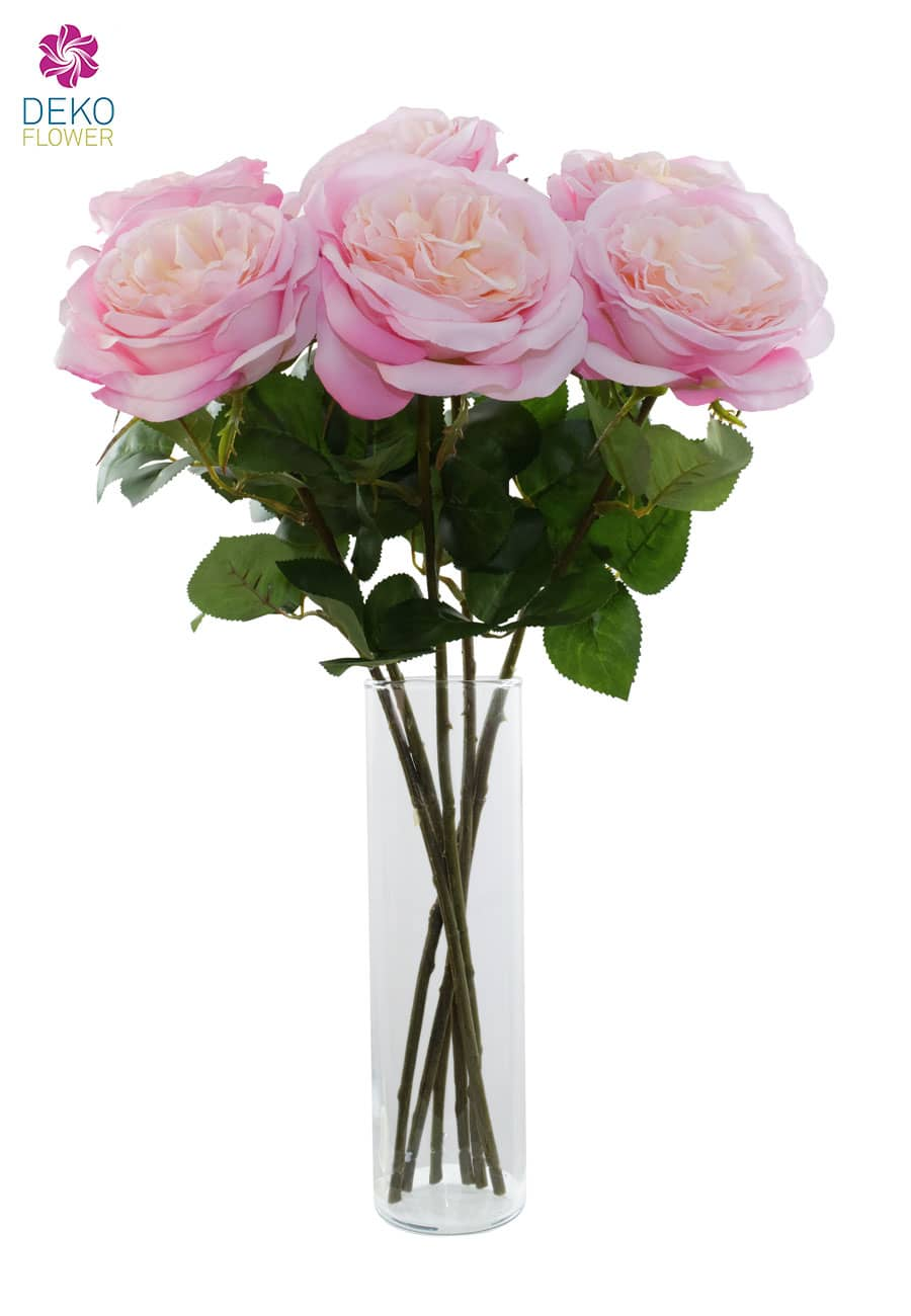 Kunstrosen pinkrosa 55 cm 6 Stück