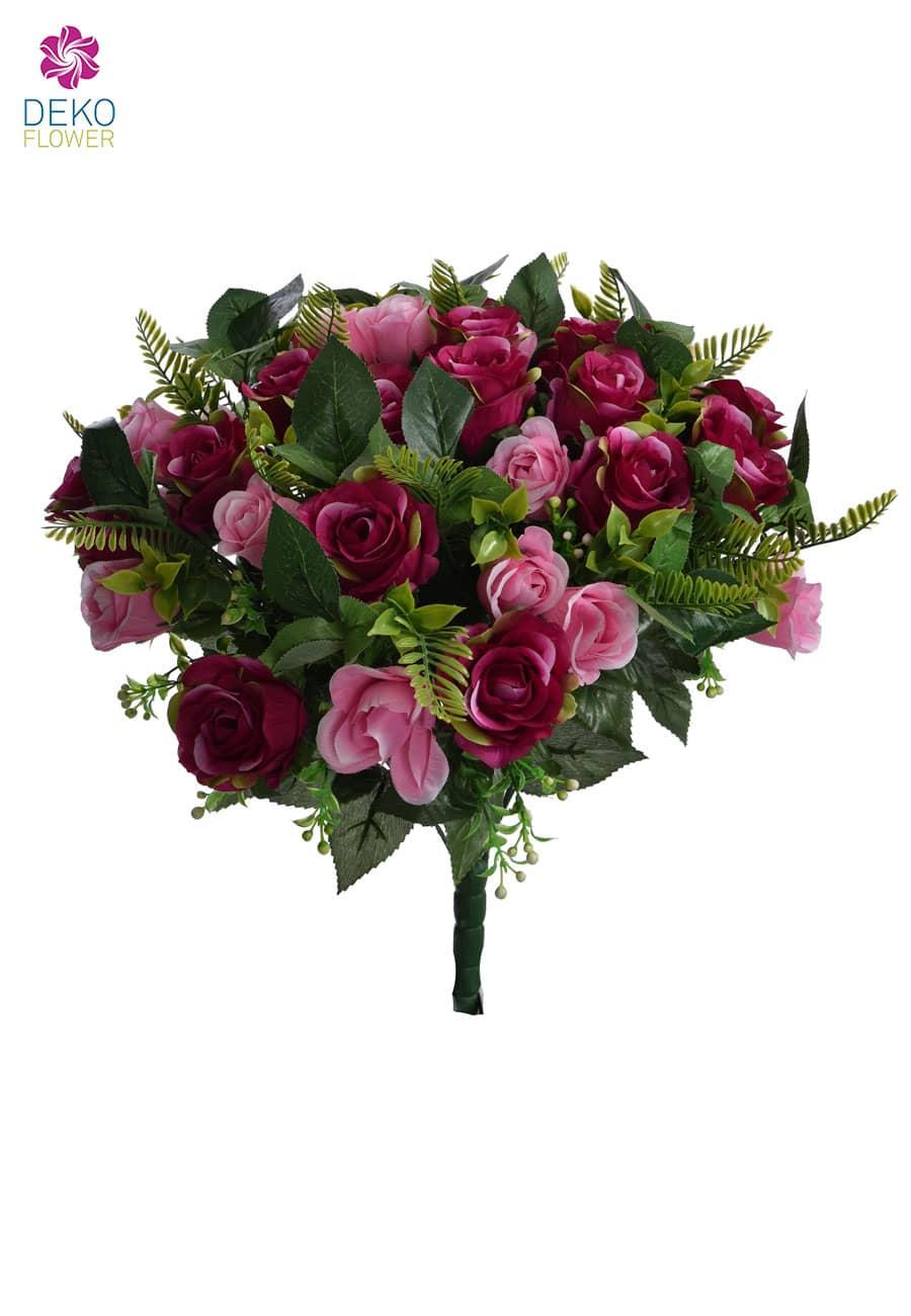 Kunststrauß aus Rosen magenta 50 cm