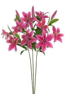 Künstliche Lilien pink 67 cm 3er-Pack