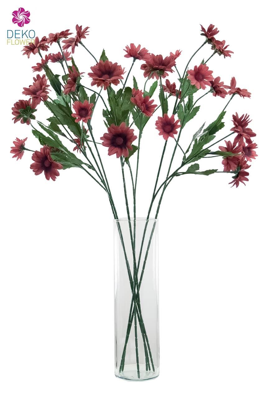 Künstlicher Margeriten Blütenzweig weinrot 60 cm 6er Pack