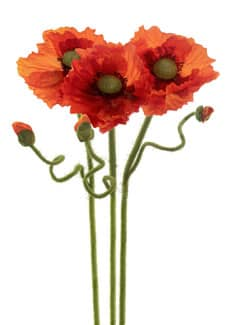 Mohn Kunstblumen orange 67 cm 3er-Pack