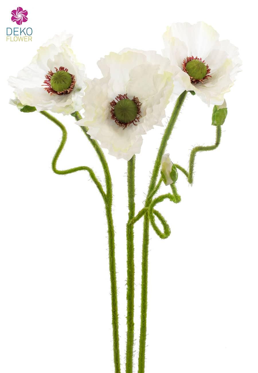 Mohn Kunstblumen weiß 67 cm 3er-Pack
