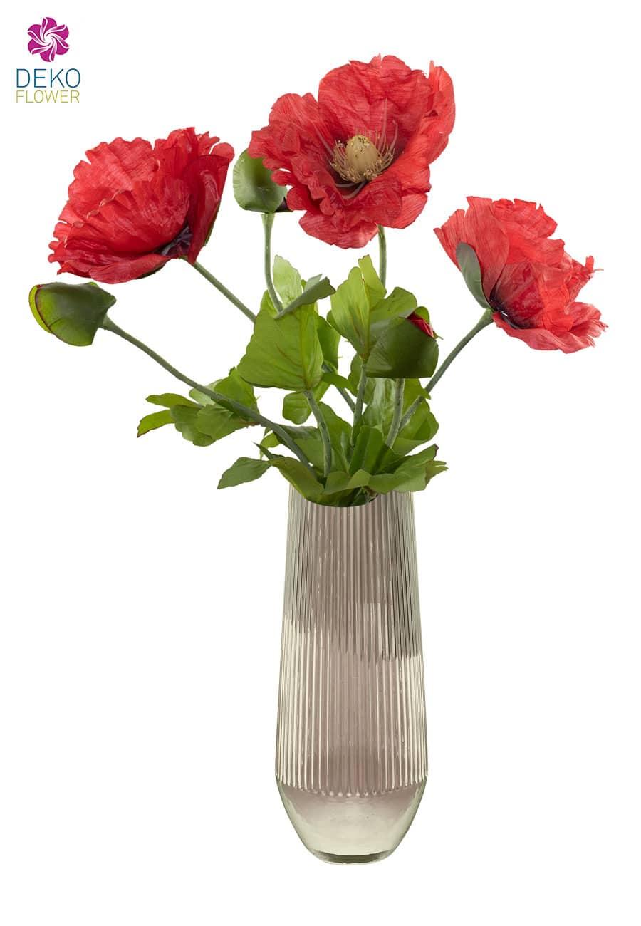 Mohnblumen künstlich rot 78 cm