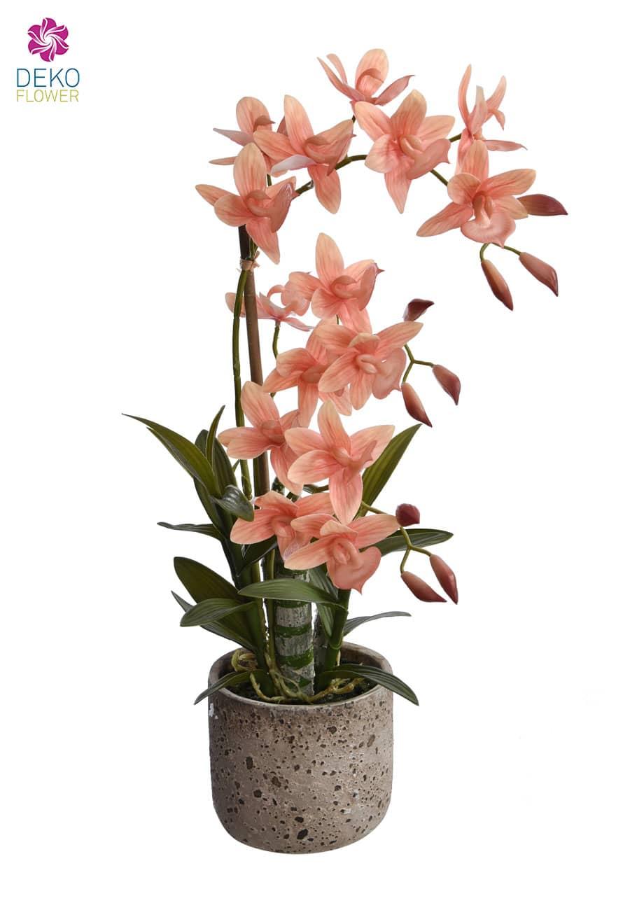 Orchidee künstlich 53 cm getopft apricot