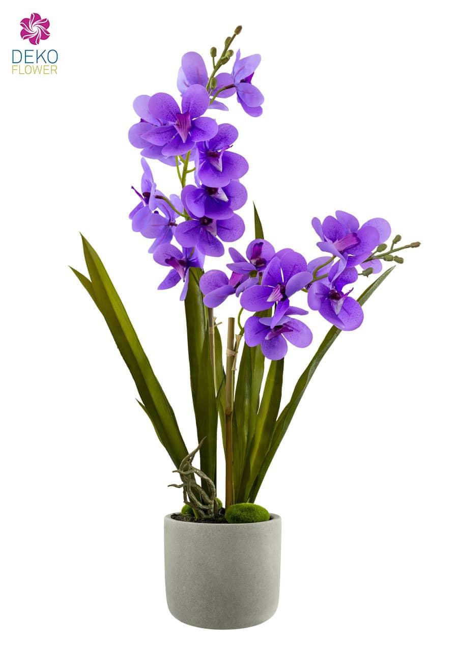 Orchidee künstlich getopft 60 cm violett