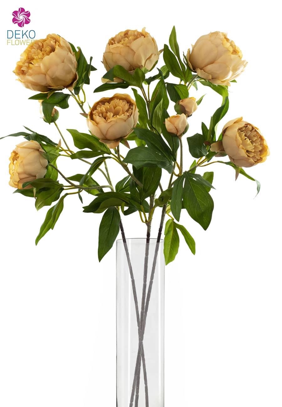 Pfingstrosen Kunstblumen 3er Set 72 cm goldbraun