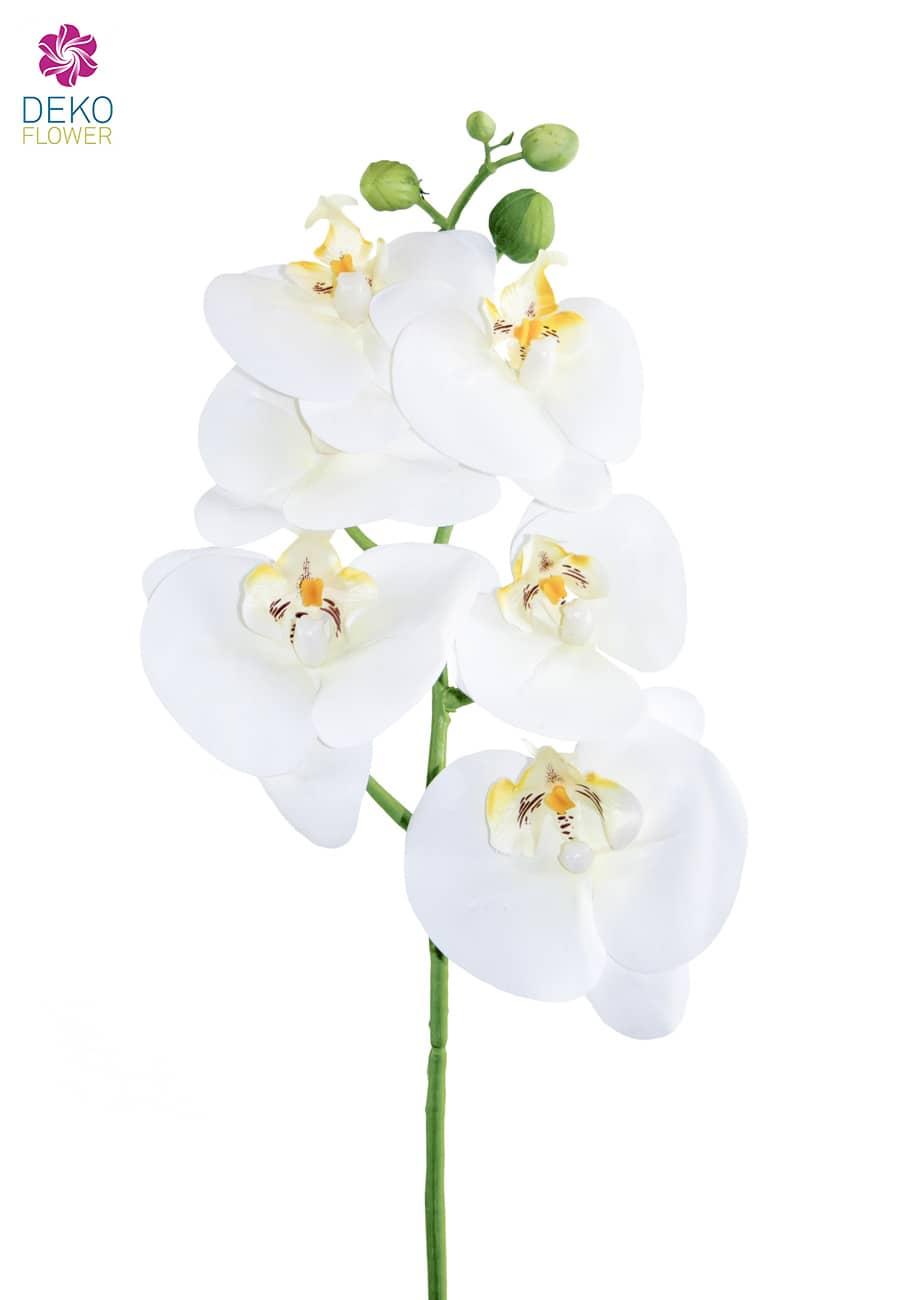 Künstlicher Phalaenopsis Orchideenzweig weiß 60 cm