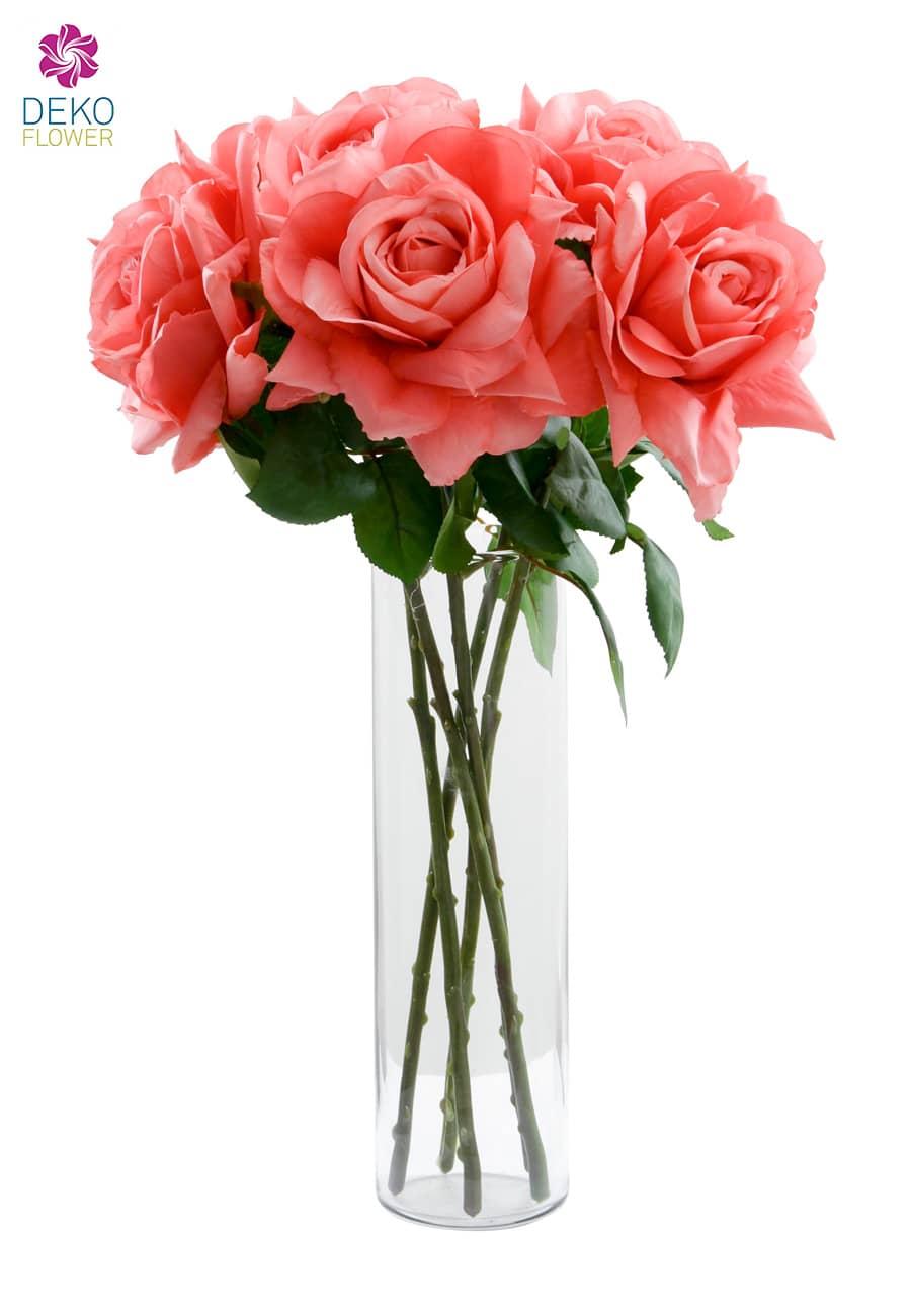 Künstliche Rose Caprice lachs-rosé 49 cm 5er-Pack