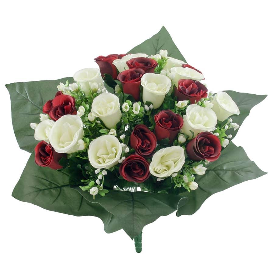 Kunstblumenstrauß mit Rosen in creme und rot 40 cm