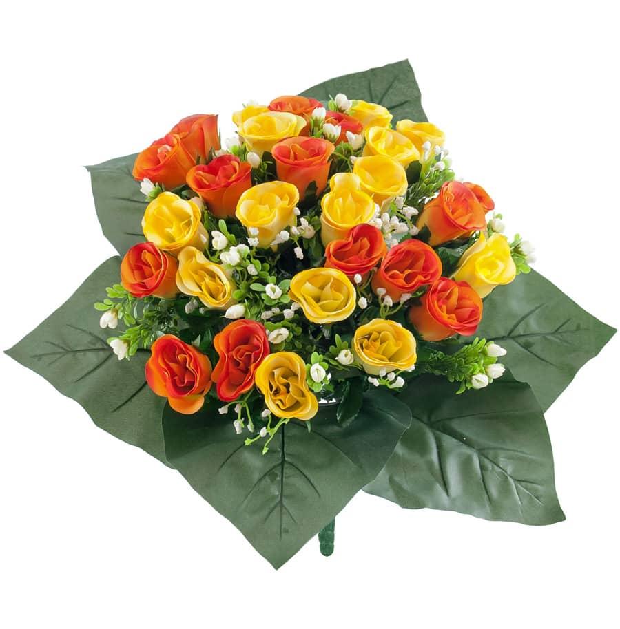 Kunstblumenstrauß mit Rosen in orange und gelb 40 cm