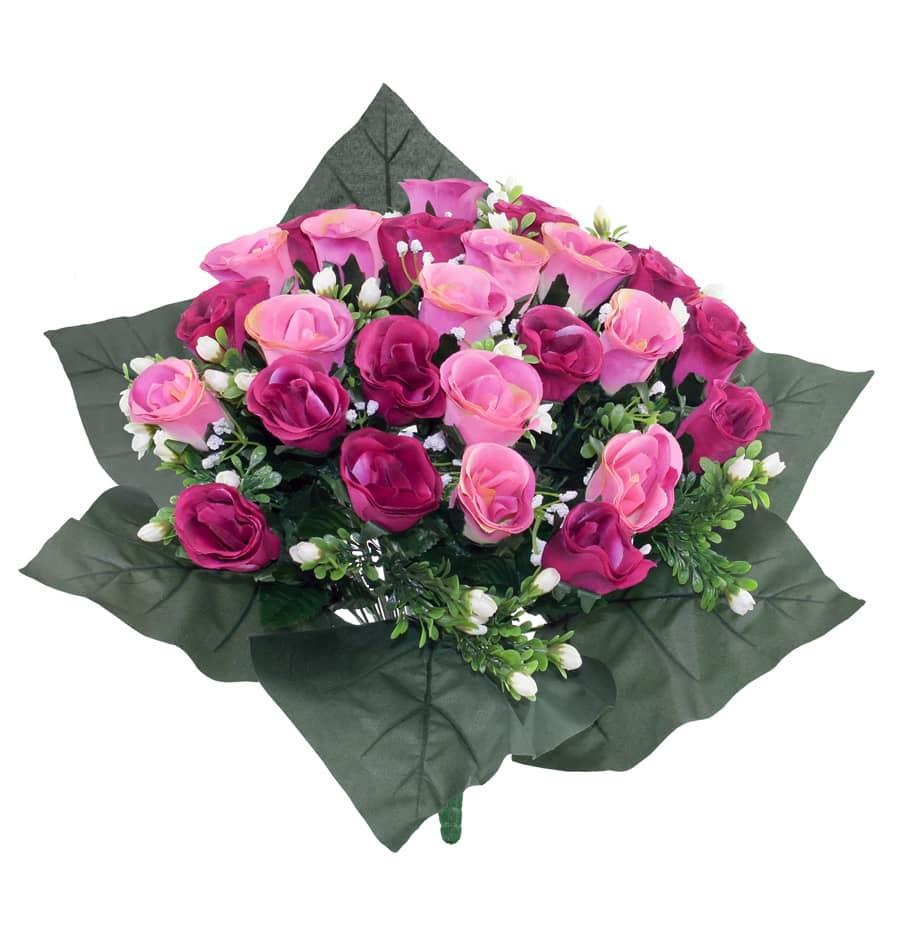 Kunstblumenstrauß mit Rosen in pink rosa 40 cm