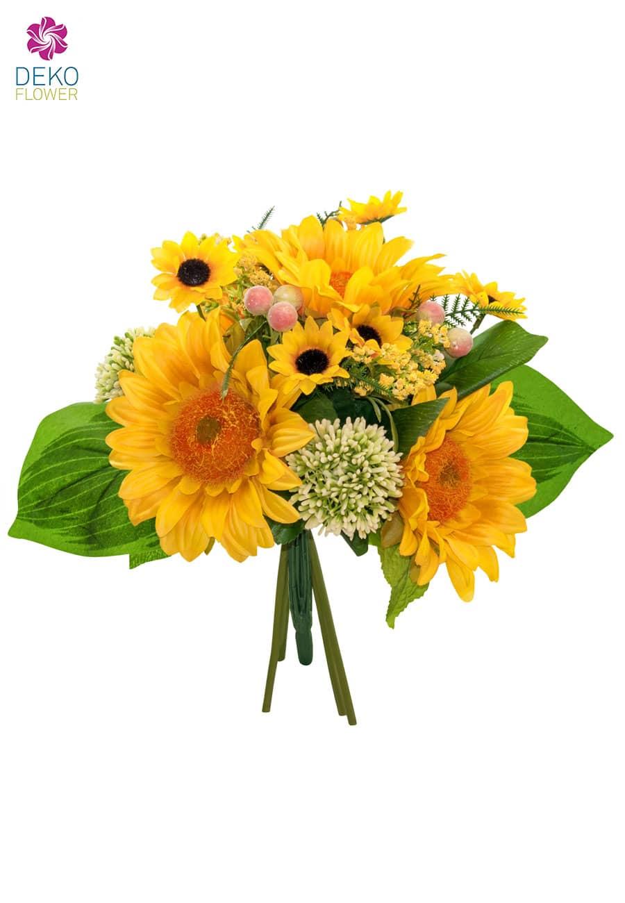Sonnenblumenstrauß gelb 31 cm handgebunden